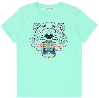 Kenzo Kids Tiger Logo cotton-blend T-shirt