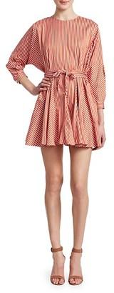 Derek Lam Belted Stripe Poplin Dress