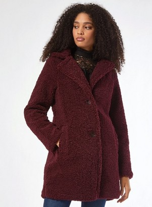 Dorothy Perkins Womens Mulberry Long Teddy Coat