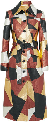 Michael Kors Collection Belted Patchwork Metallic Leather Coat