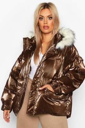 boohoo Plus Faux Fur Hooded Puffer Parka