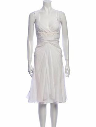 Celine V-Neck Midi Length Dress White