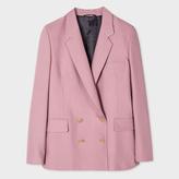 Paul Smith Women's Pink Wool-Silk Piqué Double-Breasted Blazer