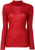Balmain button-embellished turtleneck jumper - women - Polyamide/Mohair/Wool - 34