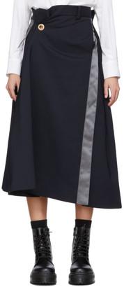 Sacai Navy Wool Gathered Waist Skirt