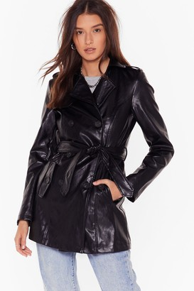 Nasty Gal Womens Heart Trenching Faux Leather Belted Coat - Black