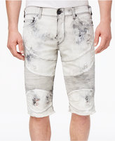 True Religion Men's Geno Destroyed Denim Cotton Moto 14.5and#034; Shorts