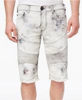 True Religion Men's Geno Destroyed Denim Cotton Moto Shorts