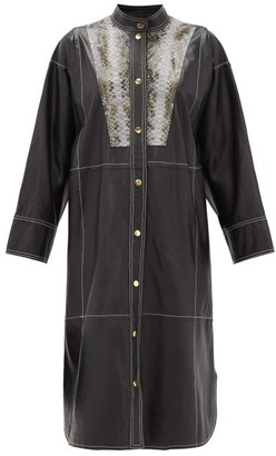 Stand Studio Ruby Python-effect Bib Leather Shirt Dress - Black Multi
