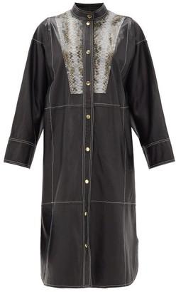 Stand Studio Ruby Python-effect Bib Leather Shirt Dress - Womens - Black Multi