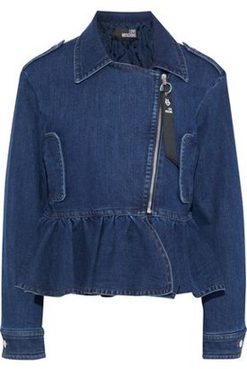 Love Moschino Ruffled Denim Biker Jacket