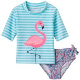 Carter's Baby Girl Striped Flamingo Rashguard & Floral Swim Bottoms Set