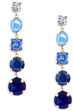 Zenzii Gold-Tone Multi-Crystal Graduated Linear Drop Earrings