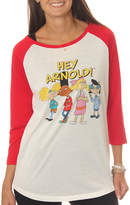 Asstd National Brand Nickelodeon Juniors' Hey Arnold! Group Shot Drapey3/4 Sleeve Graphic Baseball T-Shirt