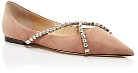 Jimmy Choo Women's Genevi Pointed Toe Crystal Embellished Flats