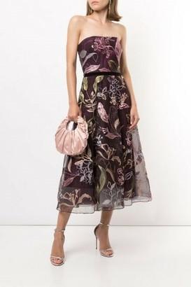 Marchesa Notte Strapless Tulle Midi Dress