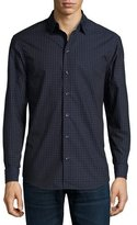 Armani Collezioni Grid & Tonal Dot Long-Sleeve Sport Shirt, Navy