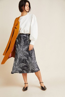 Maeve Bias Satin Midi Skirt