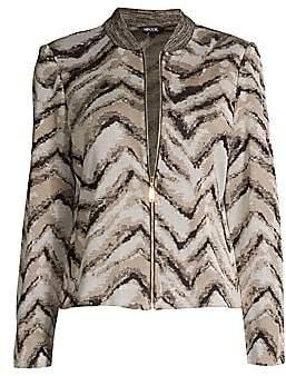 Misook Women's Tiger Intarsia Knit Bomber Jacket