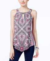 INC International Concepts Petite Printed Keyhole Halter Top, Created for Macy's