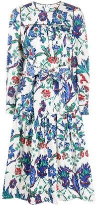 Tory Burch Floral Print Midi-Dress