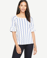 Ann Taylor Stepped Stripe Ruffle Sleeve Sweater