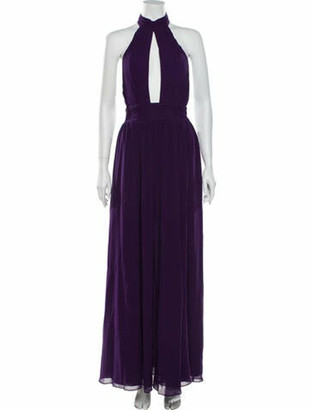Fame & Partners Plunge Neckline Long Dress Purple