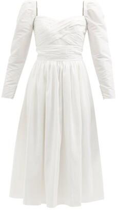 Self-Portrait Sweetheart-neckline Gathered Taffeta Midi Dress - White