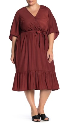Junarose Jrpalisa Elbow Sleeve Satin Midi Dress (Plus Size)
