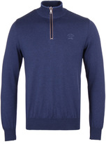 Paul & Shark Yale Blue Knitted Shark Fit Quarter Zip Sweatshirt
