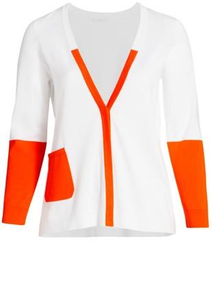 Joan Vass, Plus Size Colorblock Knit Cardigan