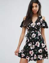 Boohoo Floral Wrap Over Dress