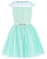 David Charles Mint Glitter Spot Tulle Dress