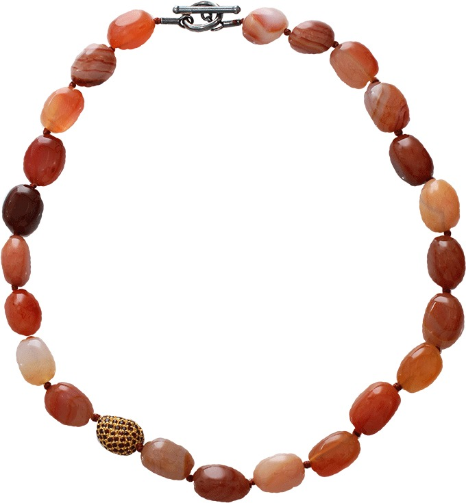 Yossi Harari Roxanne Carnelian and Sapphire Bead Necklace