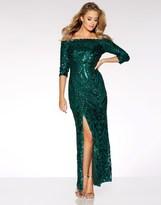 Quiz Sequin Bardot Maxi Dress