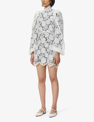 Sandro Mya balloon-sleeved floral-lace mini dress