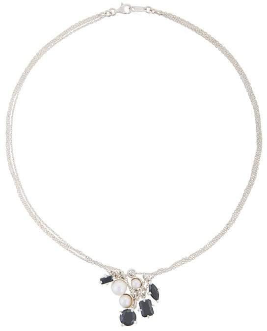 E.m. pearl and silver pendant necklace