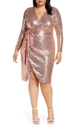 ELOQUII Long Sleeve Sequin Wrap Dress