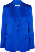 Max Mara Hammered Silk-satin Blazer - Royal blue