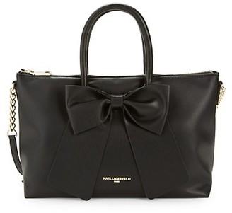 Karl Lagerfeld Paris Bow Faux Leather Satchel
