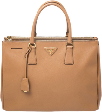 Prada Caramel Saffiano Lux Leather Large Double Zip Tote