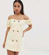 Asos DESIGN Petite denim bardot double breasted mini dress
