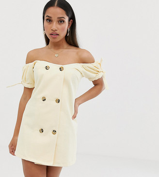 ASOS DESIGN Petite denim bardot double breasted mini dress