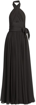 Alaia Silk Muslin Cross-Front Gown