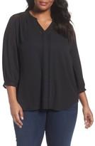 Sejour Plus Size Women's Lace Inset Split Neck Blouse