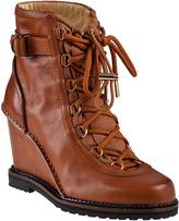 Diane von Furstenberg Senna Wedge Boot Cognac Leather