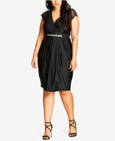 City Chic Trendy Plus Size Embellished Draped Dress