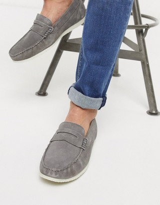 Silver Street suede penny contrast sole loafer in gray