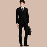 Burberry Slim Fit Wool Part-canvas Suit , Size: 58r, Black