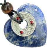 BestAmulets Celtic Triquetra Knot Protection Amulet Sodalite Gemstone Heart Pendant Necklace